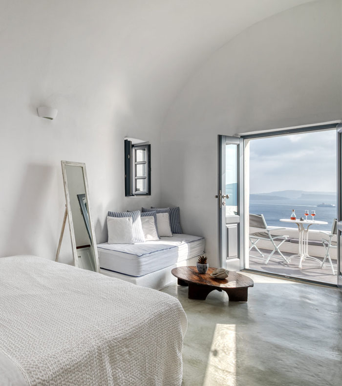The internal decoration of the luxury apartments of Nostos Apartments in Oia Santorini
