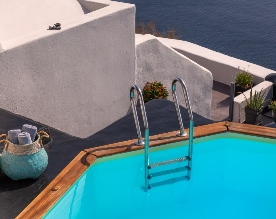 The amazing hot tube of the lavish suite of Nostos Apartments in Oia Santorini