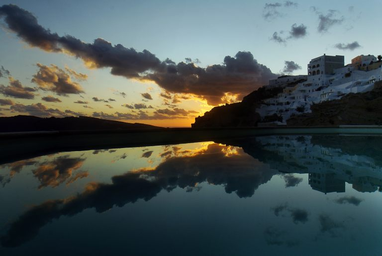 The mythical sunset from the veranda of the luxury Nostos Apartments