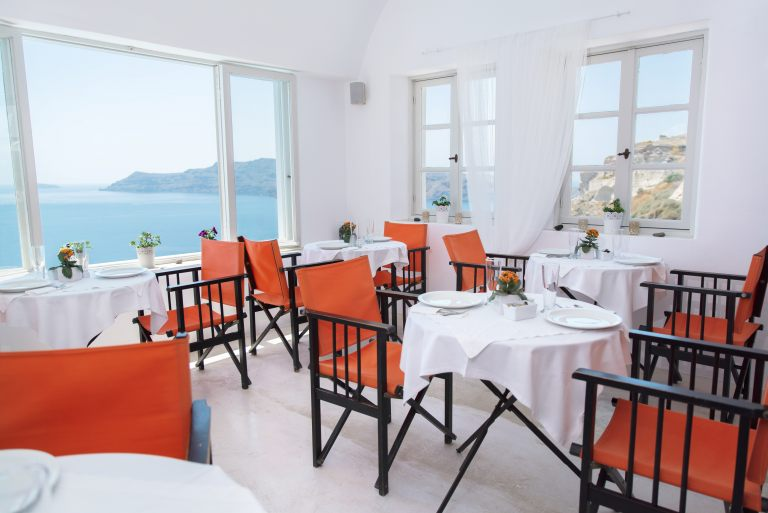 The wonderful restaurant of Nostos Apartments in Oia Santorini