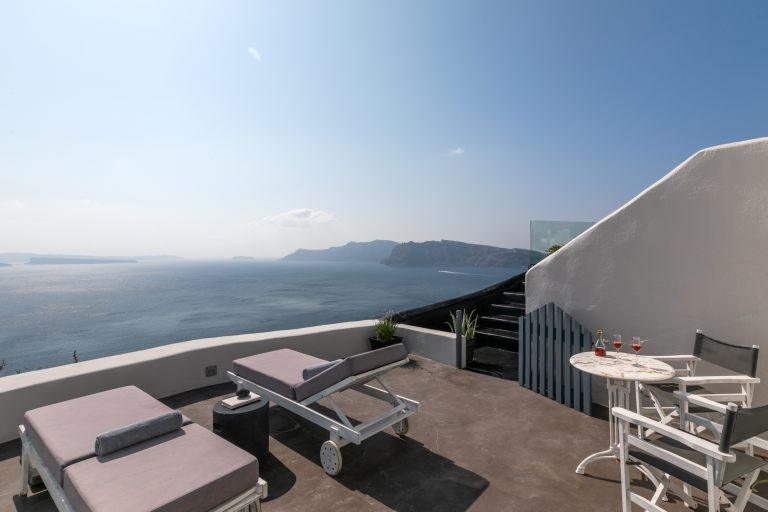 The amazing view from the balcony of the Nostos Apartments in Oia Santorini