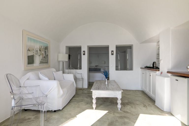 The beautiful living room of the luxury apartments of Nostos Apartments in Oia Santorini
